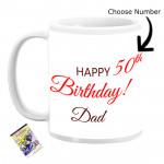 Personalized Custom Number Birthday Mug for Dad & Card