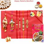 Rakhi Family Set - Diamond Rakhi with Auspicious, Pearl, Sandalwood, 2 Lumba and 2 Kids Rakhis