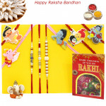 Rakhi Family Set - 5 Kids Rakhis with 3 Pearl Rakhis