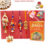 Rakhi Family Set - Bhaiya Bhabhi Rakhi Pair with Rudraksha, Lumba and 2 Kids Rakhis