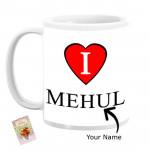 I Heart Personalized Mug & Card