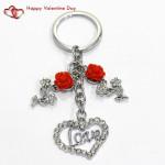 Metal Love Keychain With Diamond & Valentine Greeting Card
