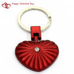 Red Heart with Diamond Keychain & Valentine Greeting Card