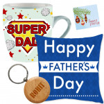 Cushion N Mug - Father's Day Mug, Father's Day Pillow, Personalized Keychain & Card