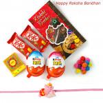 Yummy Chocolate - Kinder Joy 2 Pcs, 2 Kitkat, 1 Gems with Kids Rakhi and Roli-Chawal