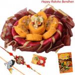 Kesar Peda Thali - Kesar Peda, Decorative Thali (R), Ganesh Idol with 1 Kids Rakhi & Fancy Rakhi and Roli-Chawal