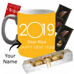 Sweet Wishes - Mug with New Year Wishes, Ferrero Rocher 4 pcs, 2 Bournville 30 gms each  & Card