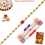 Delicate Rudraksha with Pearls Rakhi
