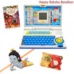 Fun & Learn - English Learner Laptop with 1 Natkhat Krishna Rakhi and Roli-Chawal