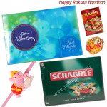 Kids Combo - Scrabble + Celebration with 1 Adorable Ganesha Rakhi and Roli-Chawal