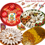 Royal Treat - Kaju Katli 500 gms, Kaju Mix 500 gms, Assorted Dryfruit Basket 500 gms, Meenakari Thali 6