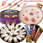All for Brother - Kaju Anjir Roll 500 gms, Danish Butter Cookies 454 gms, Snickers, Mars, Twix, Bounty, Puja Thali (W) with Set of 5 Rakhis(1 Sandalwood, 1 Auspicious, 1 Pearl, 1 Kids Rakhi and 1 Lumba Rakhi) and Roli-Chawal