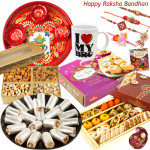 Delicacy for Brother - Kaju Mix 500 gms, Assorted Dryfruit Box 400 gms, I Love My Bro Mug, Soanpapdi 500 gms, Anjir Roll 500 gms, Meenakari Thali with Set of 5 Rakhis(1 Sandalwood, 1 Auspicious, 1 Pearl, 1 Kids Rakhi, 1 Lumba) and Roli-Chawal