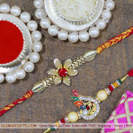 Set of 2 Rakhis - American Diamond with Mauli Rakhi