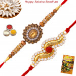 Set of 2 Rakhis - American Diamond Rakhi set