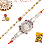 Set of 2 Rakhis - Rudraksha with Mauli Rakhis