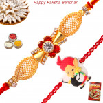 Set of 2 Rakhis - American Diamond with Kids Rakhis