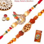 Set of 2 Rakhis - Rudraksha with American Diamond Rakhis