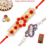 Beautiful Set of 2 Rakhis - Silver Plated with American Diamond Rakhis