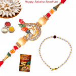Set of 2 Rakhis - Bracelet with American Diamond Rakhi