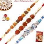 Set of 3 Rakhis - Rudraksha with Fancy and Sandalwood Rakhis
