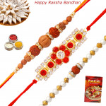 Set of 3 Rakhis - American Diamond with Rudraksha and Sandalwood Rakhis