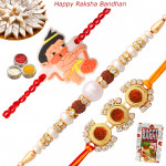 Set of 3 Rakhis - Rudraksha with Pearl and Kids Rakhi