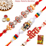 Set of 3 Rakhis - Fancy, Mauli and Pearl Rakhis
