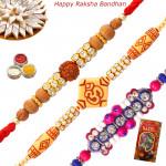 Set of 3 Rakhis - Sandalwood with Auspicious and Fancy Rakhis