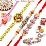 Set of 5 Rakhis - Lumba with Golden, Pearl, Fancy and Kids Rakhi