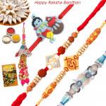Set of 5 Rakhis - Lumba with Fancy, Sandalwood, Auspicious and Kids Rakhi