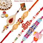 Set of 5 Rakhis - Lumba with Fancy, American Diamond, Pearl and Kids Rakhi