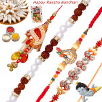 Set of 5 Rakhis - Bracelet with Lumba, American Diamond, Fancy and Kids Rakhis