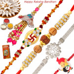 Set of 5 Rakhis - Lumba with Silver Plated, Rudraksha, Auspicious and Kids Rakhi