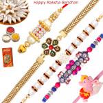 Set of 5 Rakhis - Golden Plated with Pearl, Fancy, Lumba and Kids Rakhi