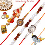 Set of 5 Rakhis - Bracelet with Lumba, Diamond, Mauli and Kids Rakhis