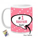 Number 1 Sister Personalized Mug & Card