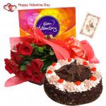 Rosey Chocolaty Delight - 12 Red Roses, 1/2 Kg Black Forest Cake, Cadbury Celebration & Valentine Greeting Card
