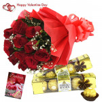 Ferrero Rose Extravaganza - Double Roses - 10 Red Roses Bunch, 2 Ferrero Rocher 4 Pcs each & Valentine Greeting Card