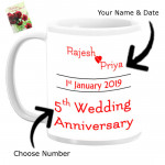 Personalized Wedding Anniversary Mug (Photo, Name, Number, Date) & Card