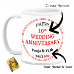 Happy Wedding Anniversary Personalized Mug (Photo, Name, Year, Number) & Card