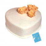 Butter Scotch Heart Shape Cake 1 Kg + Card