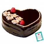 Chocolate Truffle Heart Shape Cake 1 Kg + Card