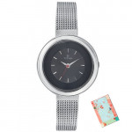 Titan Tagged Silver / Black Analog Watch
