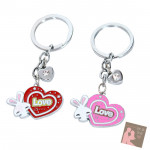 2 Heart with Bunny Keychain