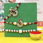 Set of 3 Rakhis - Auspicious with Pearl and American Diamond Rakhi