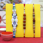 Set of 3 Rakhis - Rudraksha with Fancy and Sandalwood Rakhis