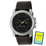 Fastrack Analog Watch Black Dial Black Strap