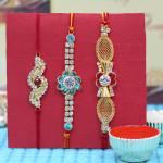 Set of 3 Rakhis - 3 American Diamond Rakhi