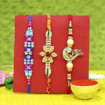 Set of 3 Rakhis - Mauli, American Diamond and Fancy Rakhi